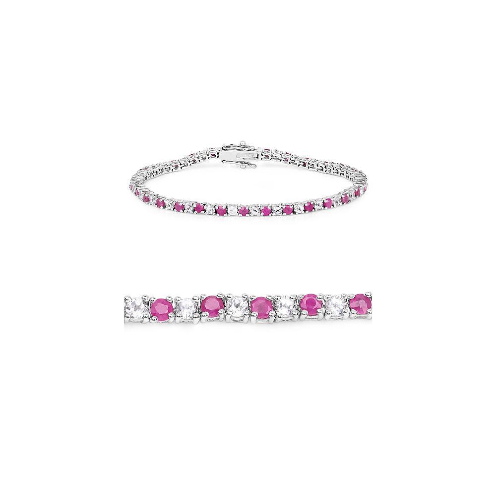 6.09 CTW Genuine Ruby & White Topaz .925 Sterling Silver Bracelet