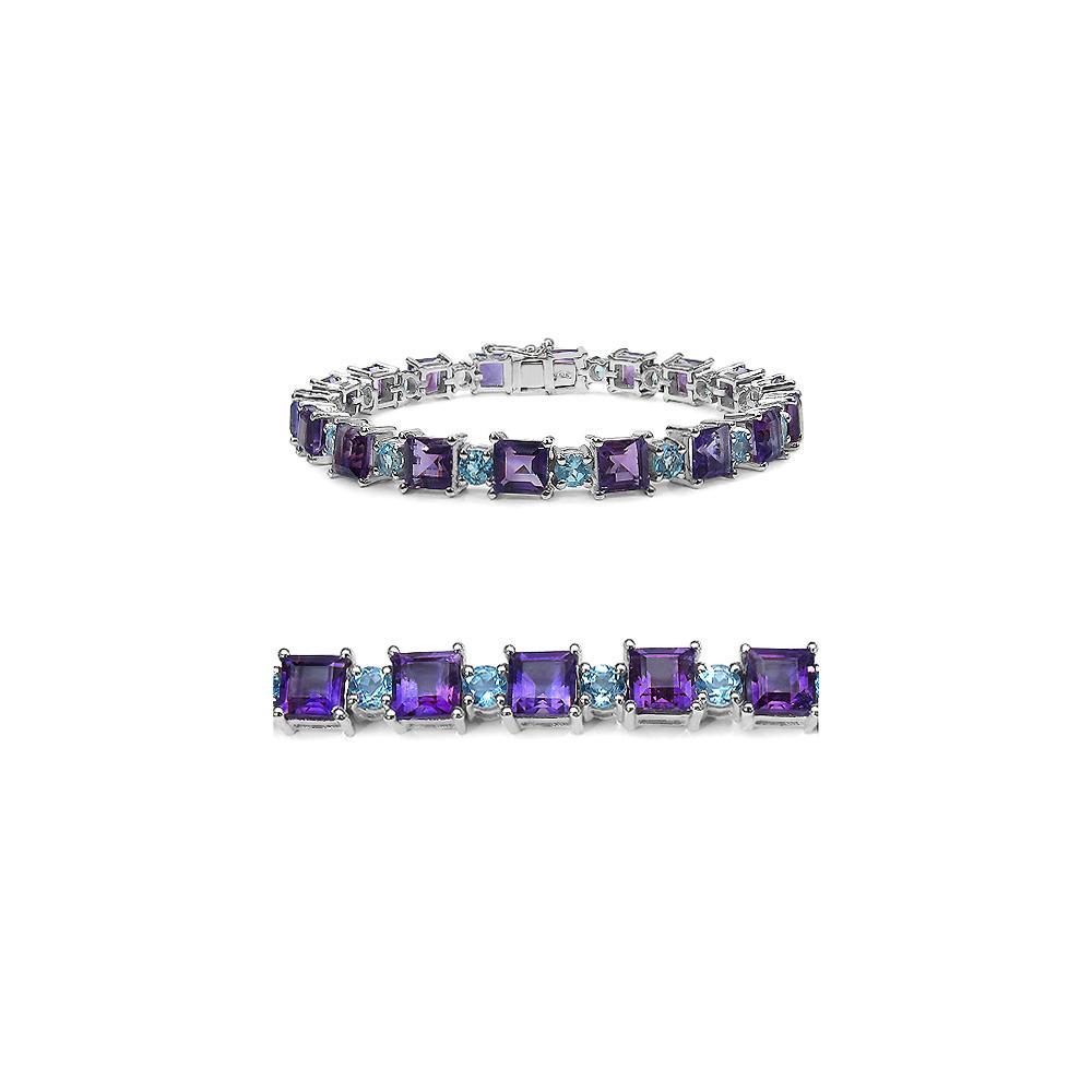 23.76 CTW Genuine Amethyst & Blue Topaz .925 Sterling Silver Bracelet