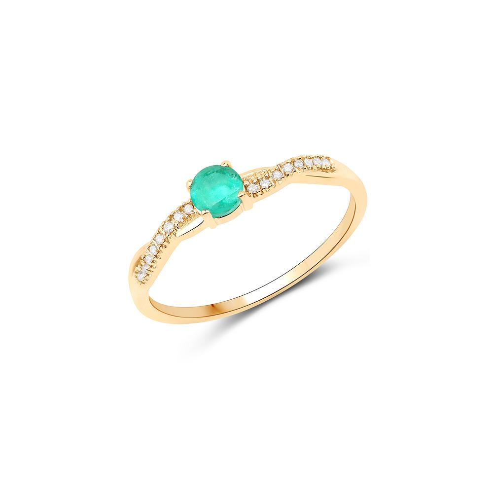 0.28 CTW Genuine Zambian Emerald & White Diamond 14K Yellow Gold Ring