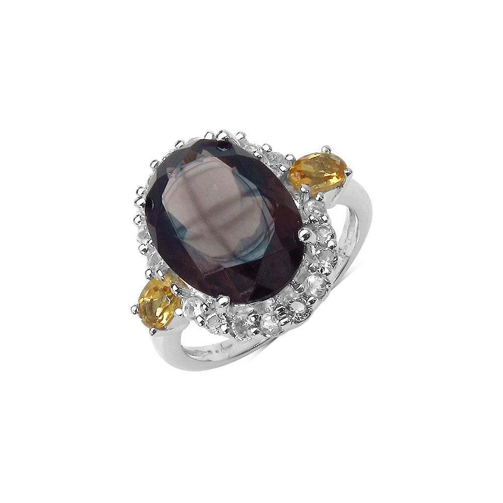 5.44 CTW Smoky Quartz Ring with 1.26 CTW Multi-Gems in Sterling Silver