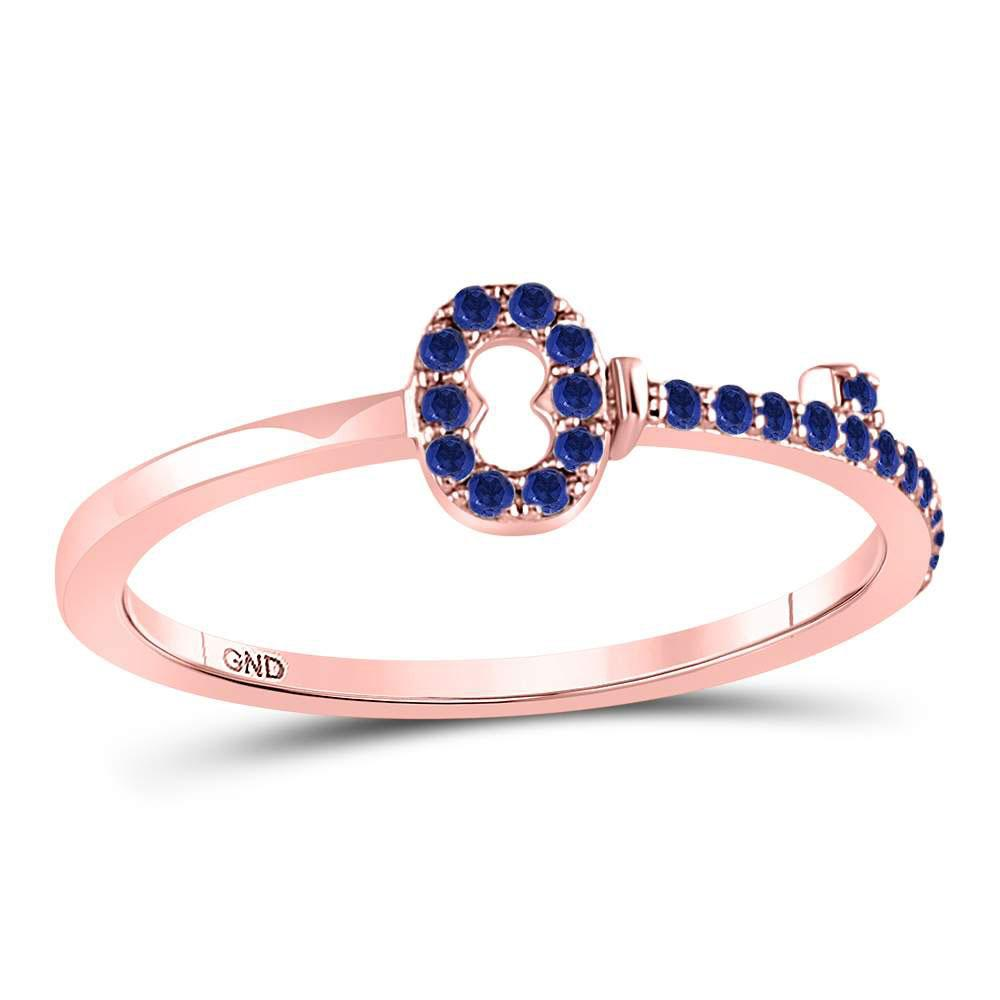 Blue Sapphire Key Stackable Band 10kt Rose Gold
