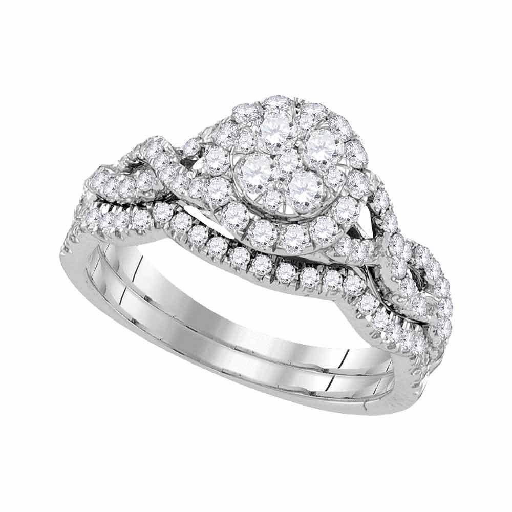 Diamond Cluster Bridal Wedding Engagement Ring 14kt White Gold