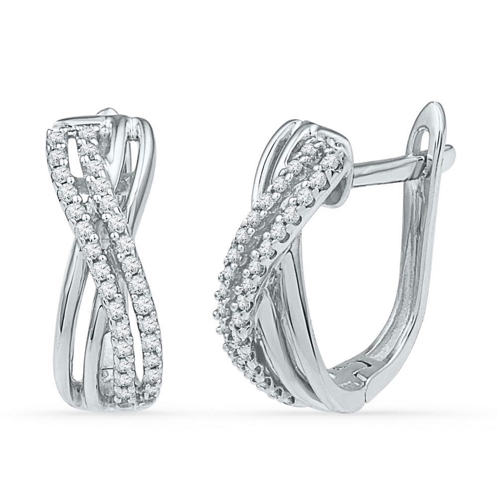 Diamond Hoop Earrings 10kt White Gold