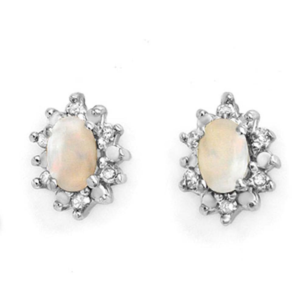 0.45 CTW Genuine Opal & Diamond Earrings 10K Yellow Gold