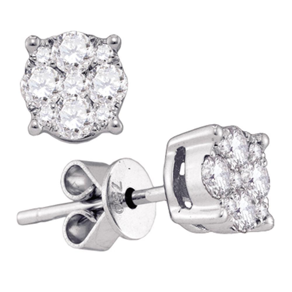 Diamond Cluster Stud Earrings 18kt White Gold