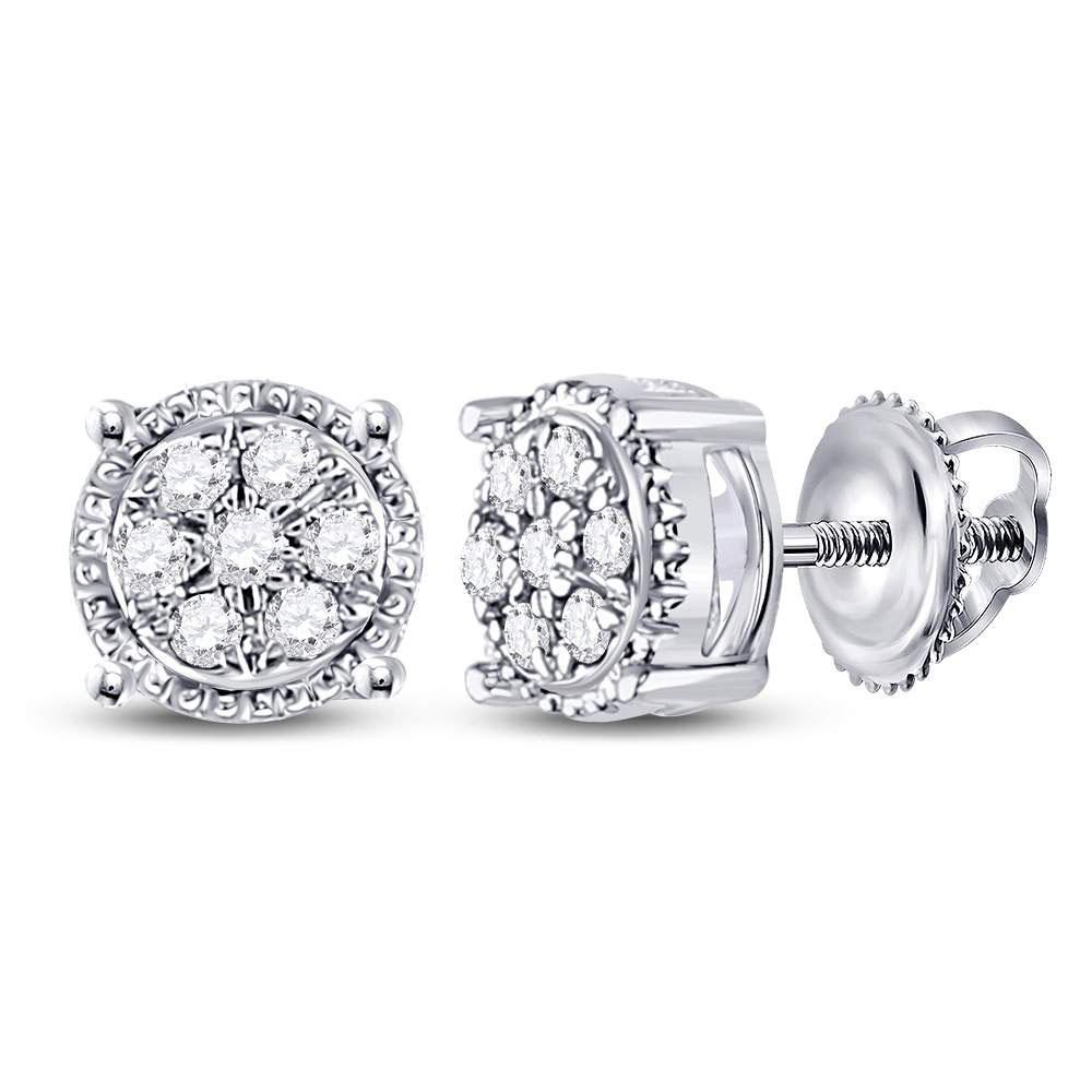 Diamond Flower Cluster Stud Earrings 10kt White Gold
