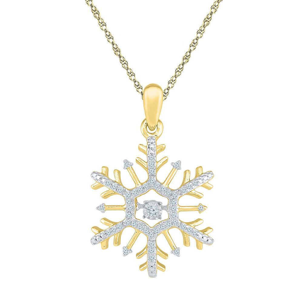 Diamond Snowflake Winter Cluster Pendant 10kt Yellow Gold