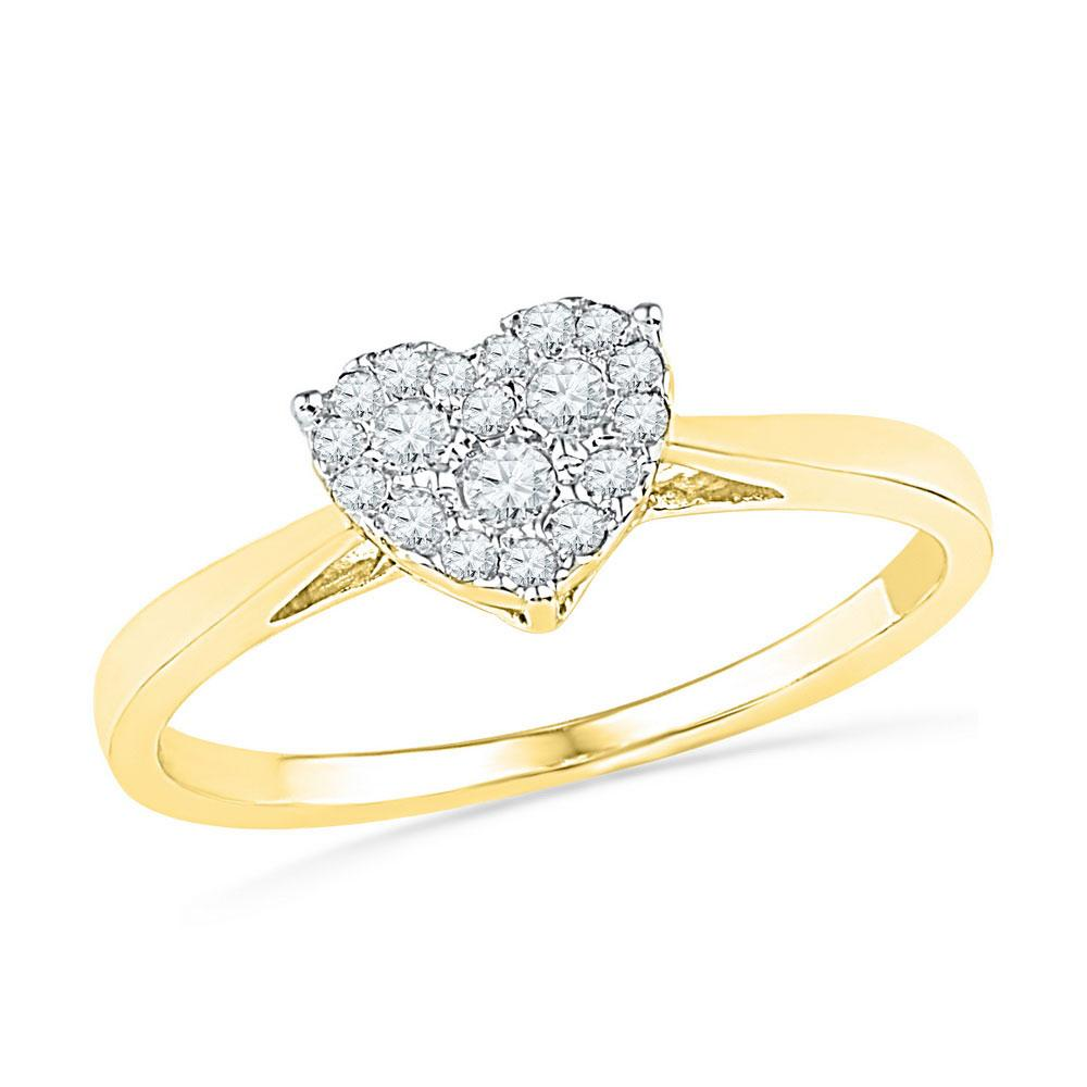 Diamond Simple Heart Cluster Ring 10kt Yellow Gold