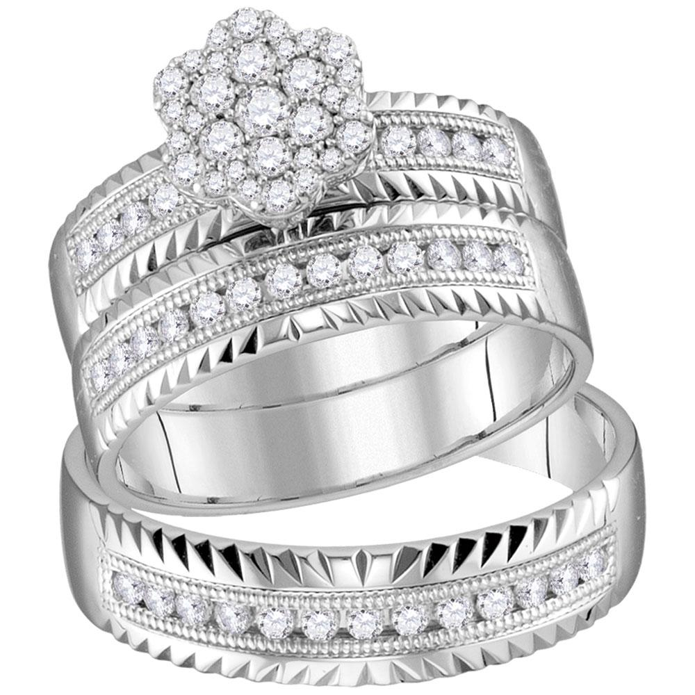 His & Hers Diamond Cluster Faceted Matching Bridal Wedding Ring 14kt White Gold
