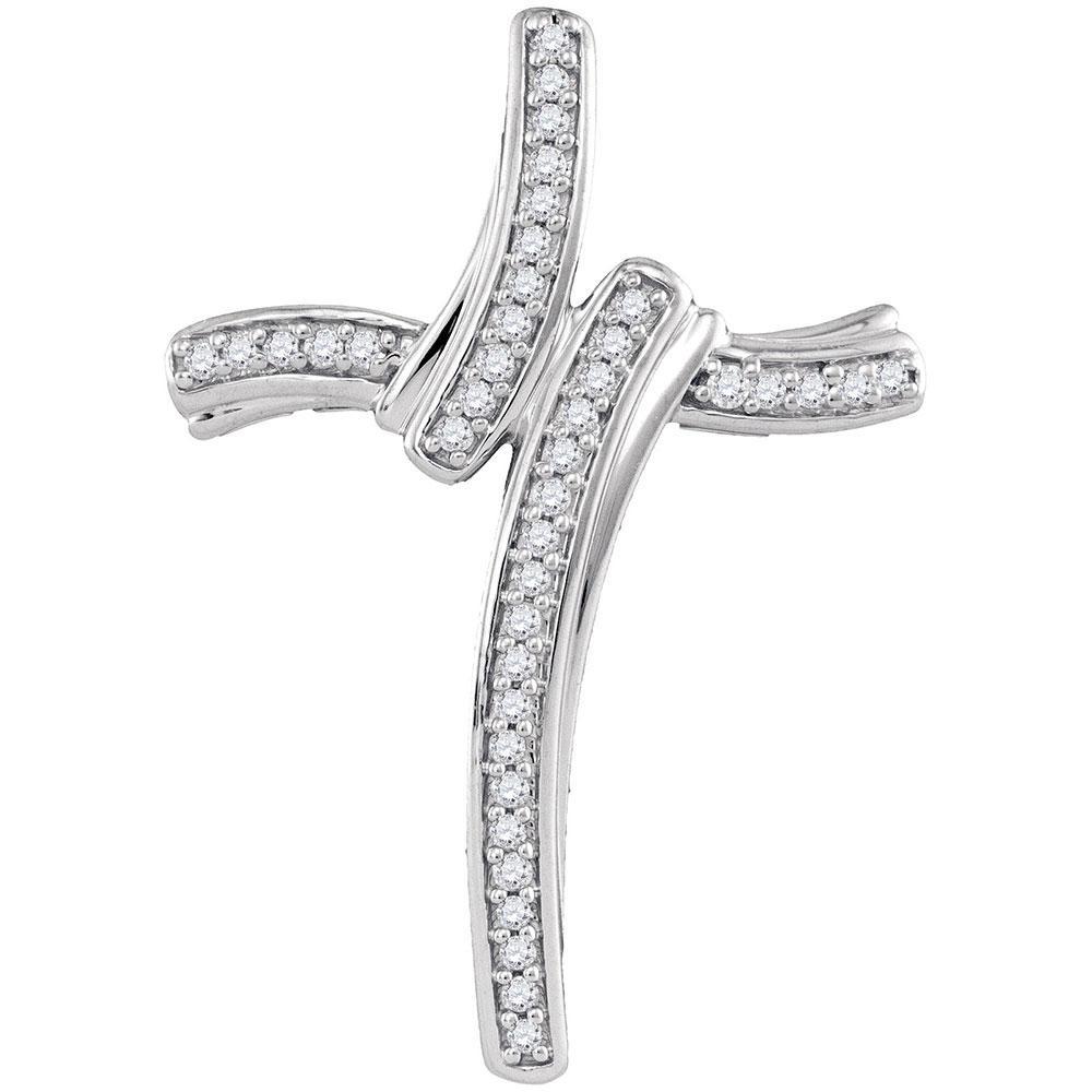 Diamond Cross Pendant 10kt White Gold