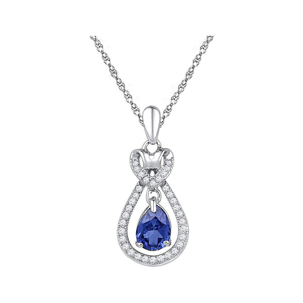 Oval Lab-Created Blue Sapphire Solitaire Pendant 10kt White Gold