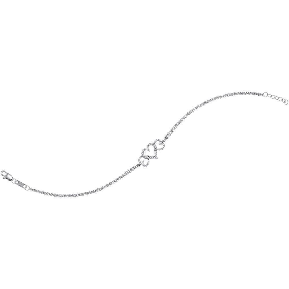 Diamond Triple Heart Chain Bracelet 10kt White Gold