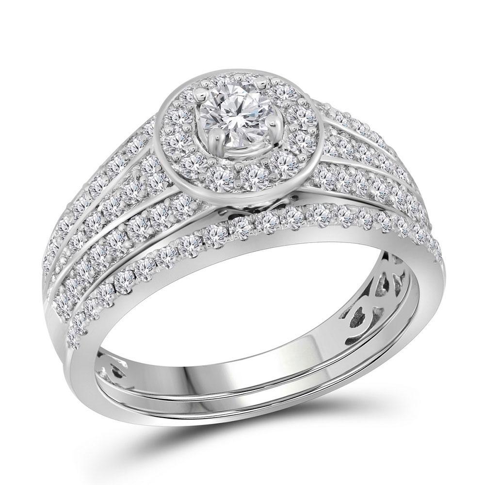 Diamond Bridal Wedding Engagement Ring 14kt White Gold
