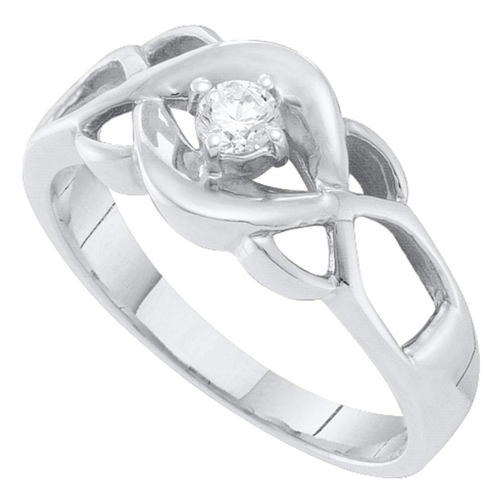 Diamond Solitaire Openwork Promise Bridal Ring 10kt White Gold