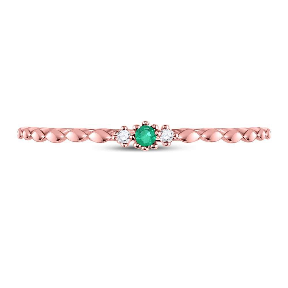 Emerald Solitaire Diamond-accent Stackable Ring 10kt Rose Gold