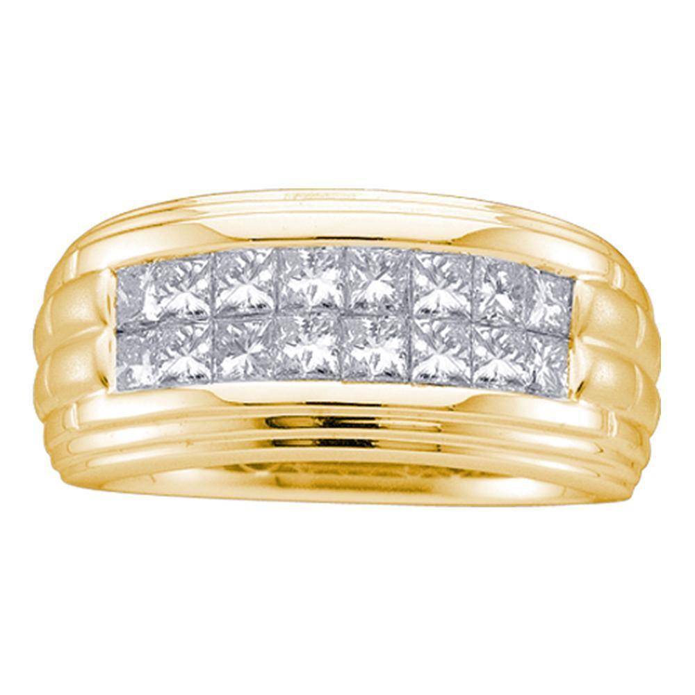 Mens Princess Diamond Double Row Wedding Band 14kt Yellow Gold