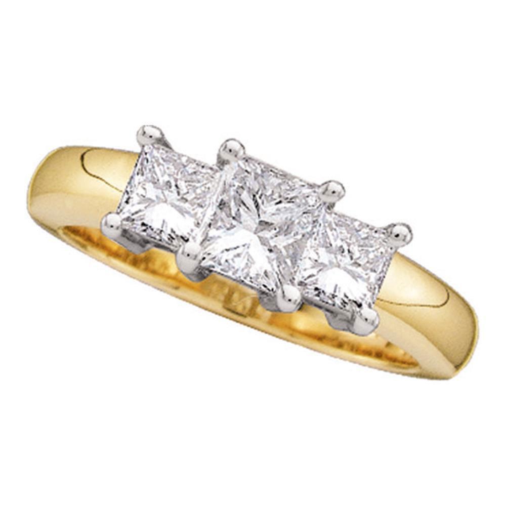 Princess Diamond 3-stone Bridal Wedding Engagement Ring 14kt Yellow Gold