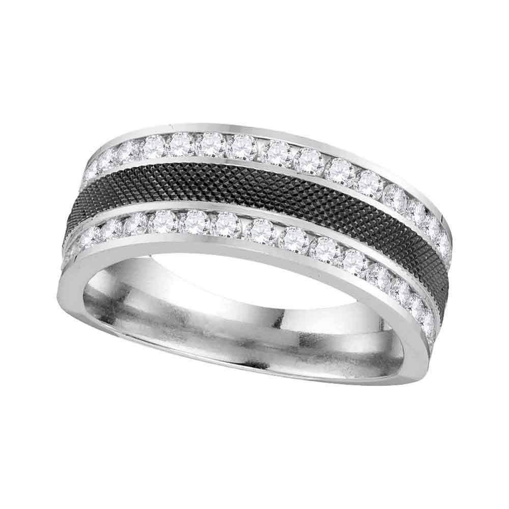 Mens Diamond Double Row Wedding Band 14kt White Gold
