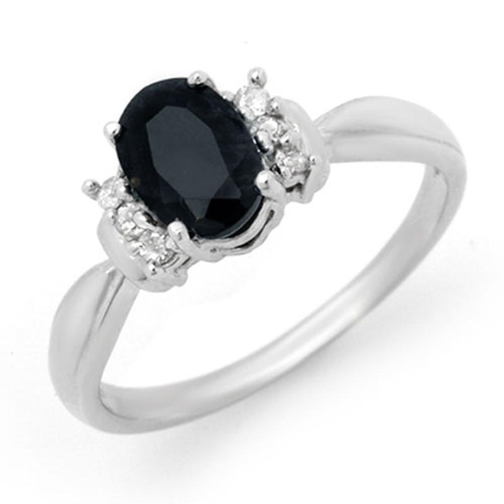 1.05 CTW Genuine Blue Sapphire & Diamond Ring 14K White Gold