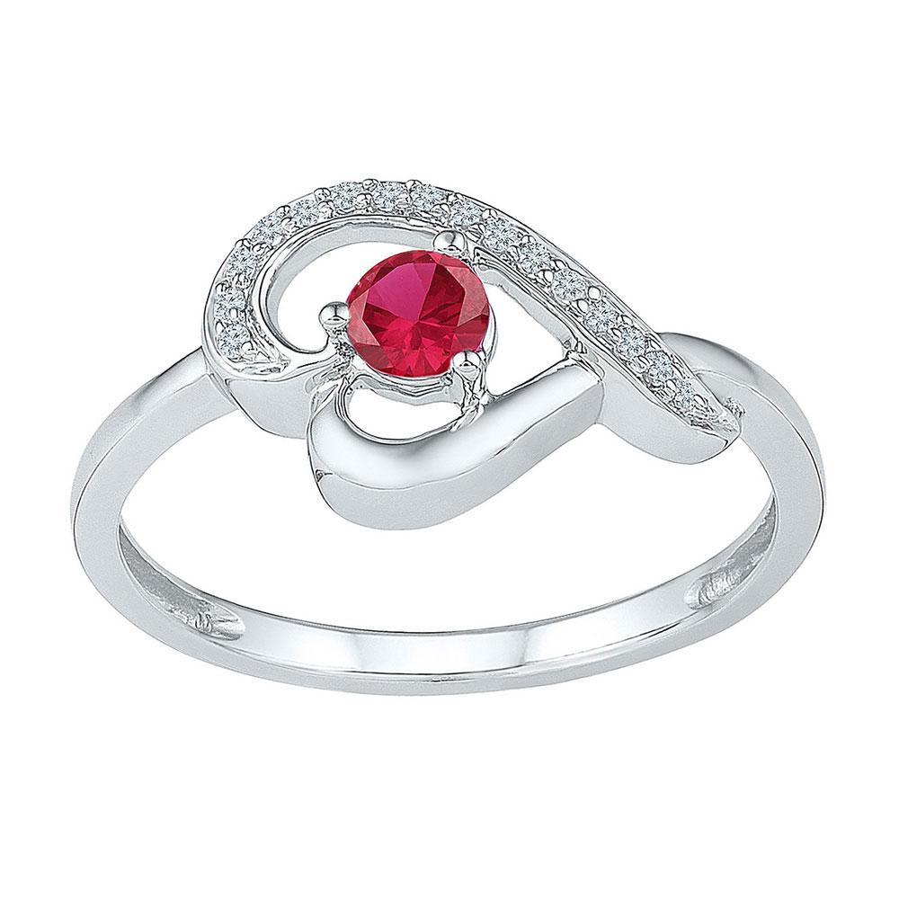 Lab-Created Ruby Diamond Heart Ring Sterling Silver