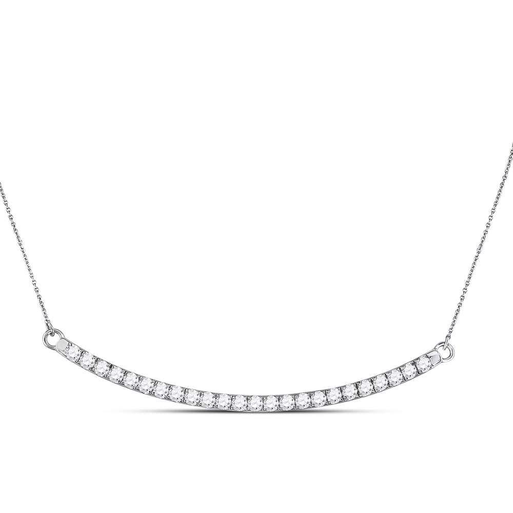 Diamond Curved Single Row Bar Necklace 14kt White Gold