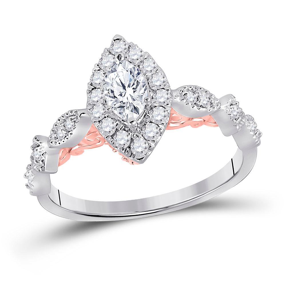 Marquise Diamond Solitaire Bellina Bridal Wedding Engagement Ring 14kt Two-tone White Rose Gold