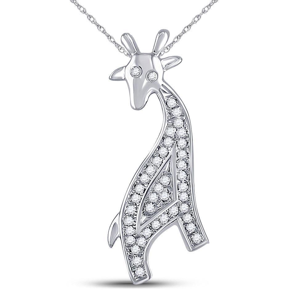 Diamond Giraffe Animal Pendant 10kt White Gold
