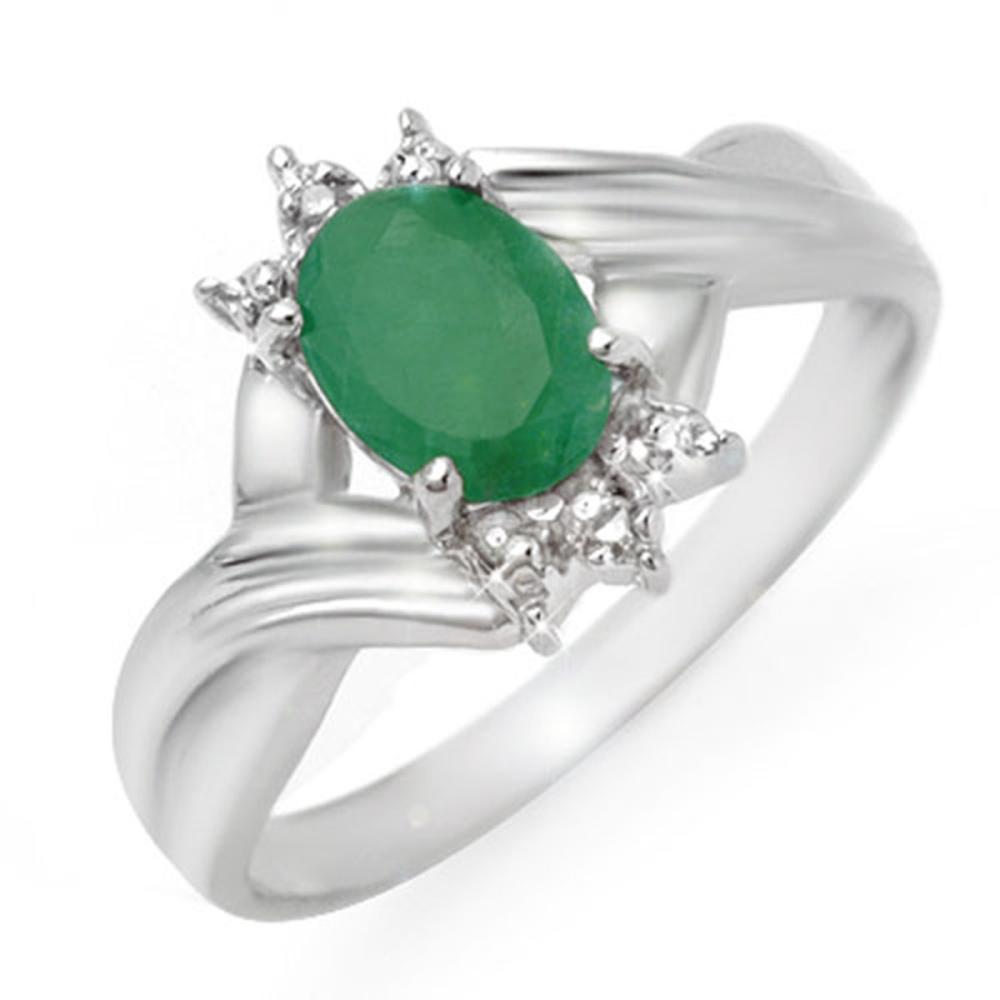 0.90 CTW Genuine Emerald & Diamond Ring 10K White Gold