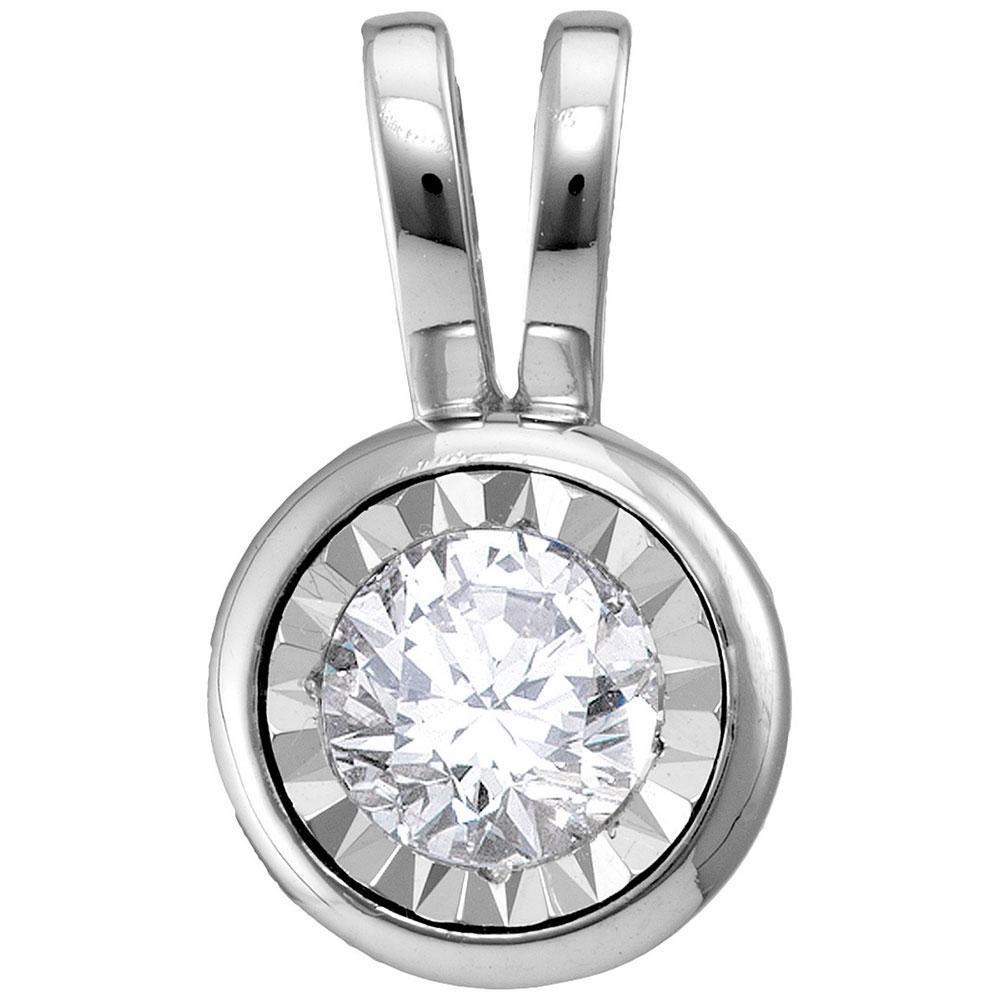 Diamond Solitaire Faceted Framed Pendant 10kt White Gold