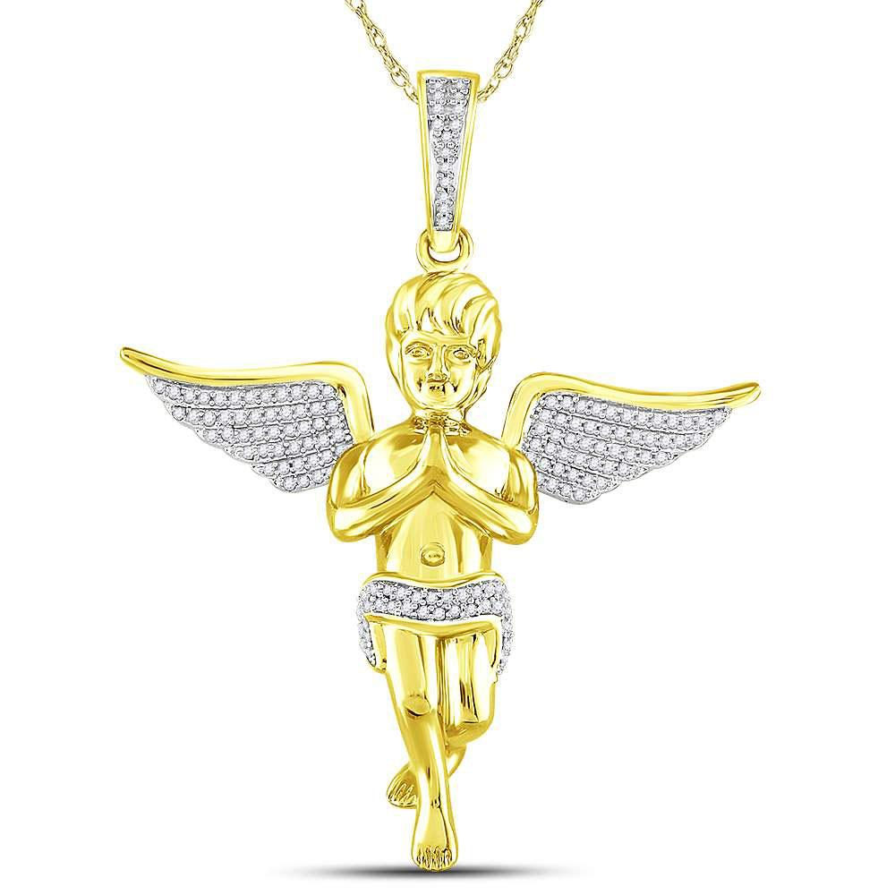 Mens Diamond Angel Charm Pendant 10kt Yellow Gold