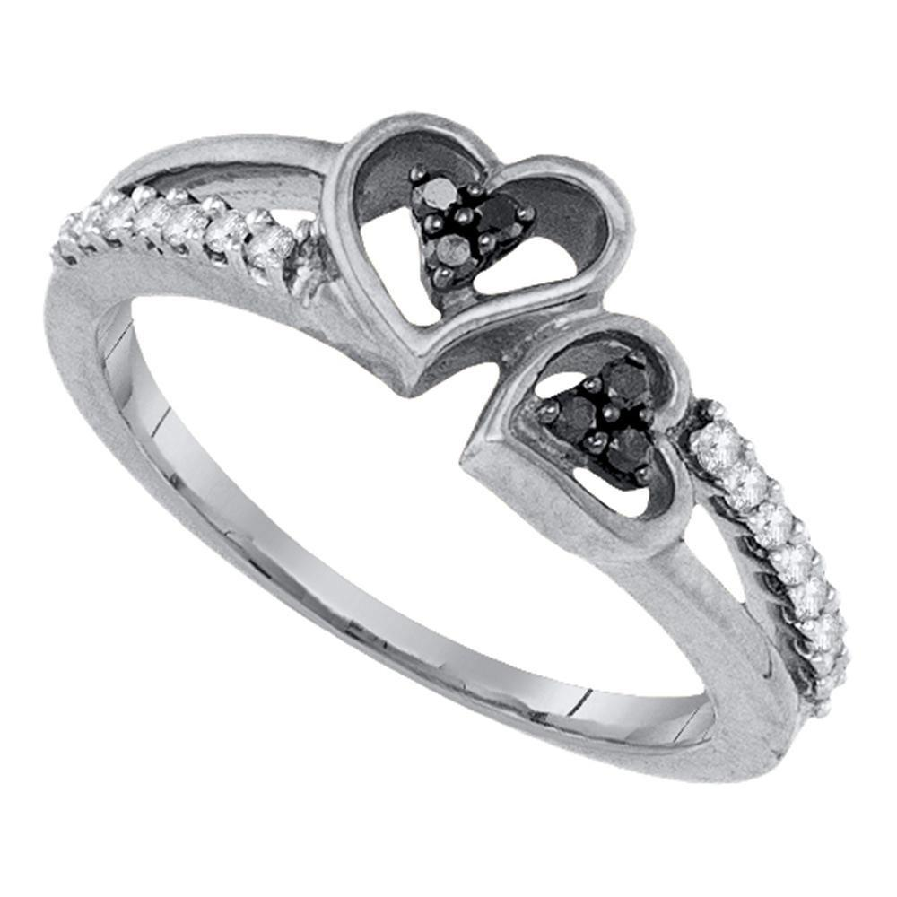 Black Color Enhanced Diamond Double Heart Ring Sterling Silver