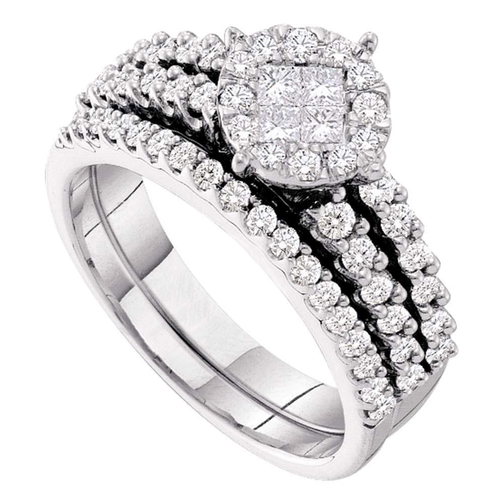 Princess Diamond Soleil Bridal Wedding Engagement Ring 14kt White Gold
