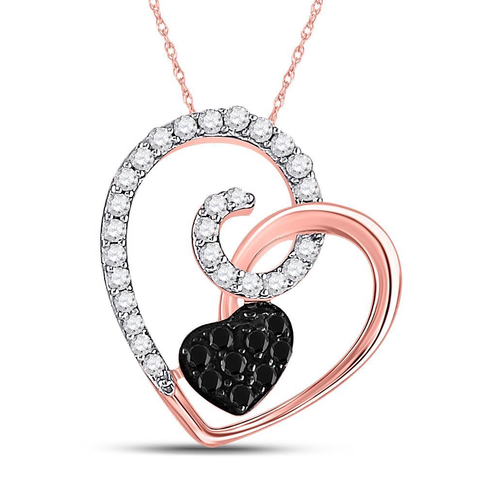 Black Color Enhanced Diamond Heart Pendant 10kt Rose Gold