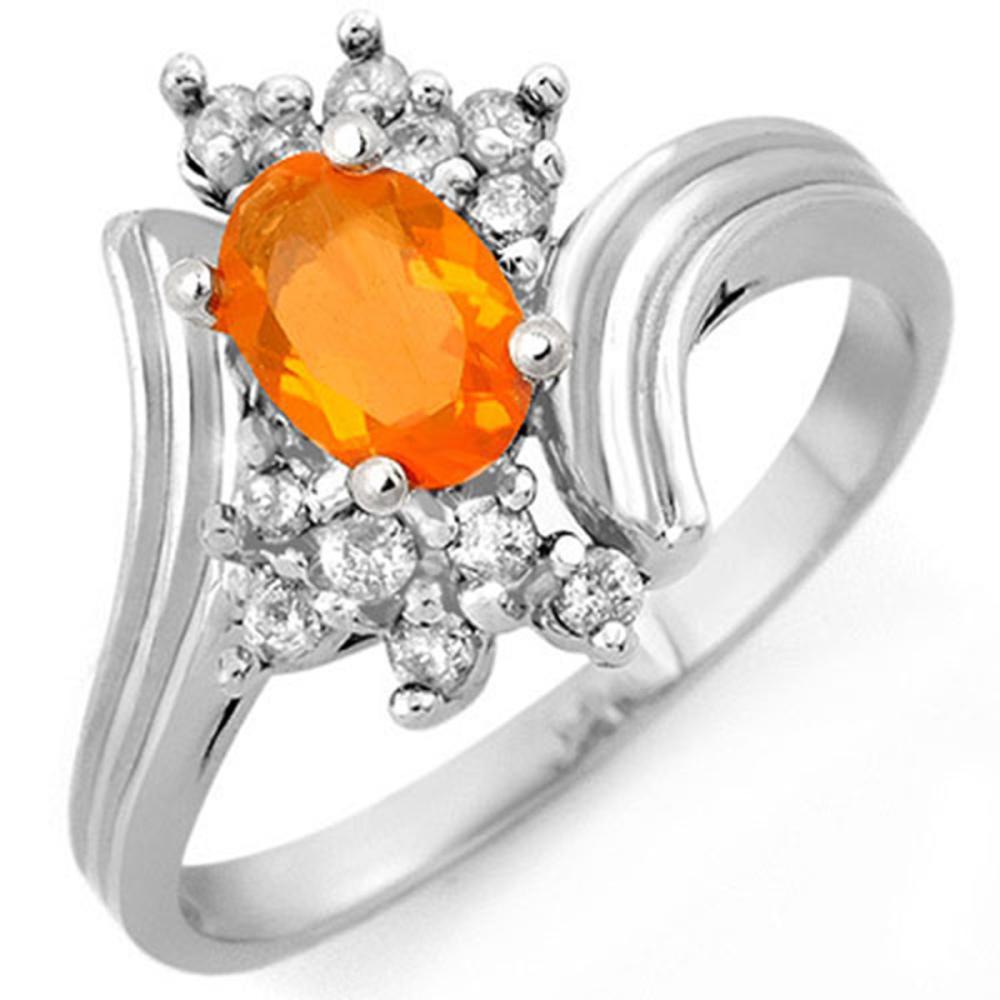 0.65 CTW Genuine Opal & Diamond Ring 10K White Gold