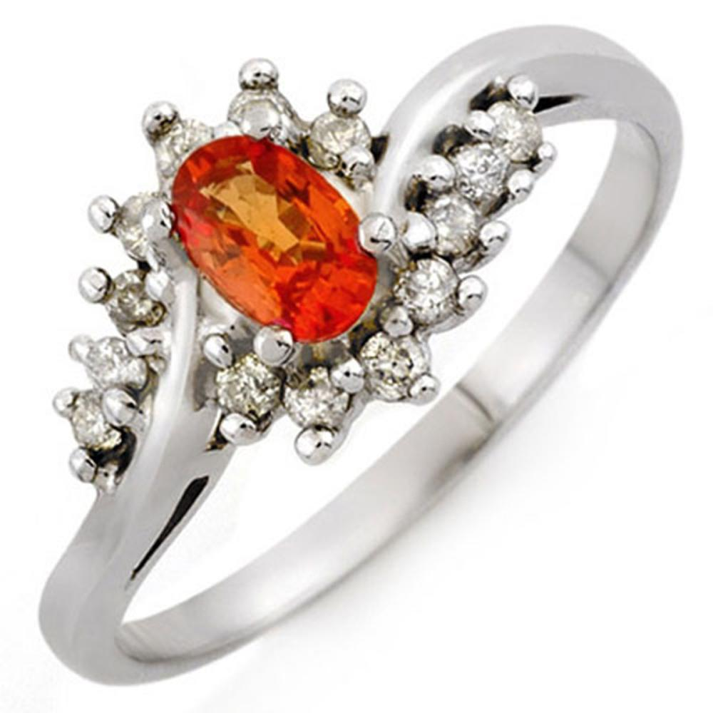 0.55 CTW Genuine Orange Sapphire & Diamond Ring 14K White Gold