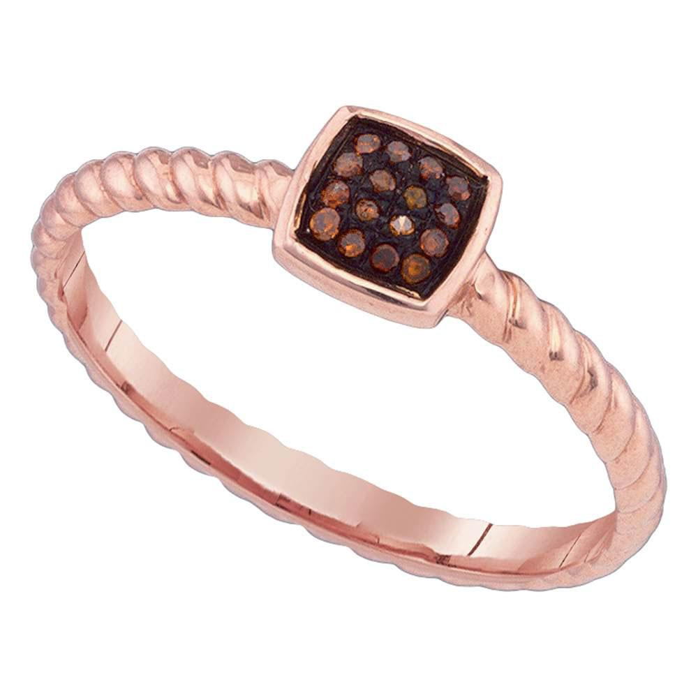 Red Color Enhanced Diamond Square Cluster Roped Ring 10kt Rose Gold
