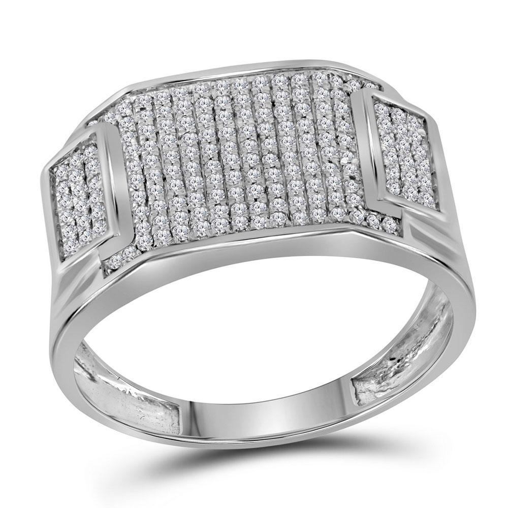 Mens Diamond Rectangle Cluster Ring 10kt White Gold