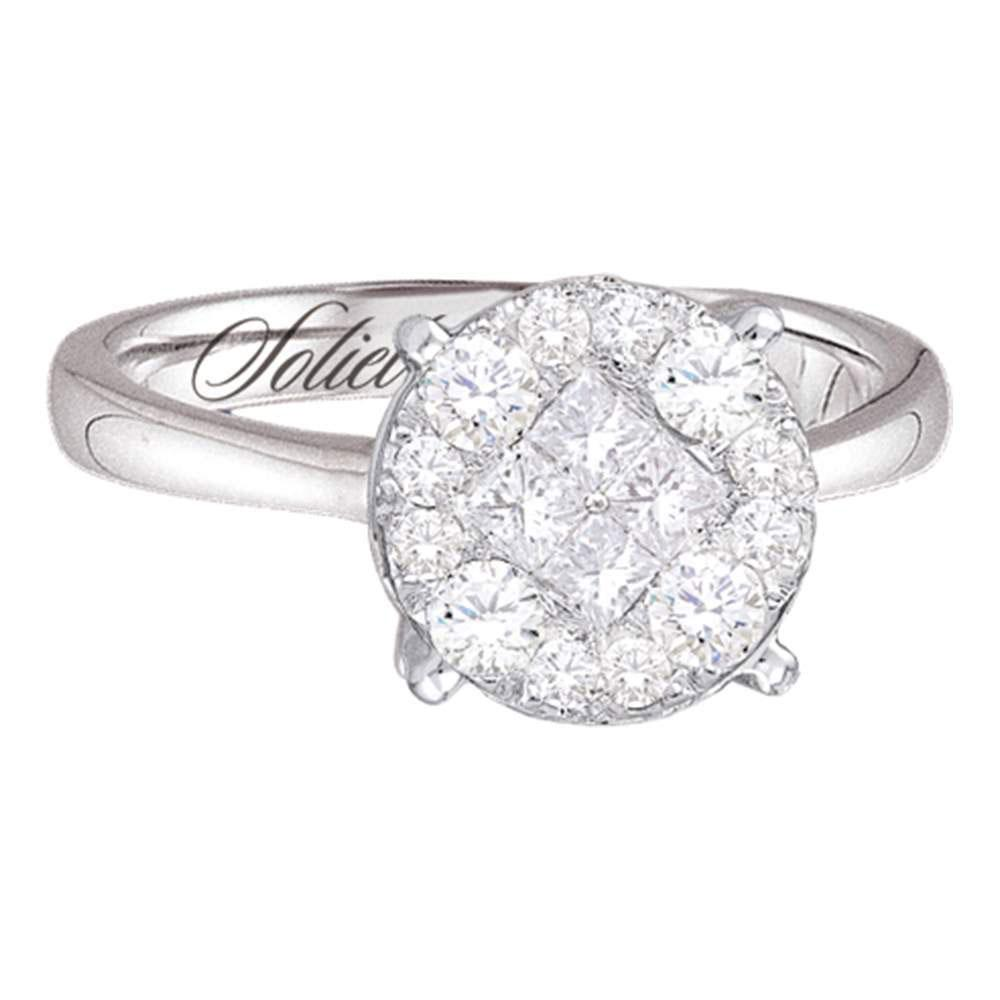 Princess Diamond Soleil Cluster Bridal Wedding Engagement Ring 14kt White Gold