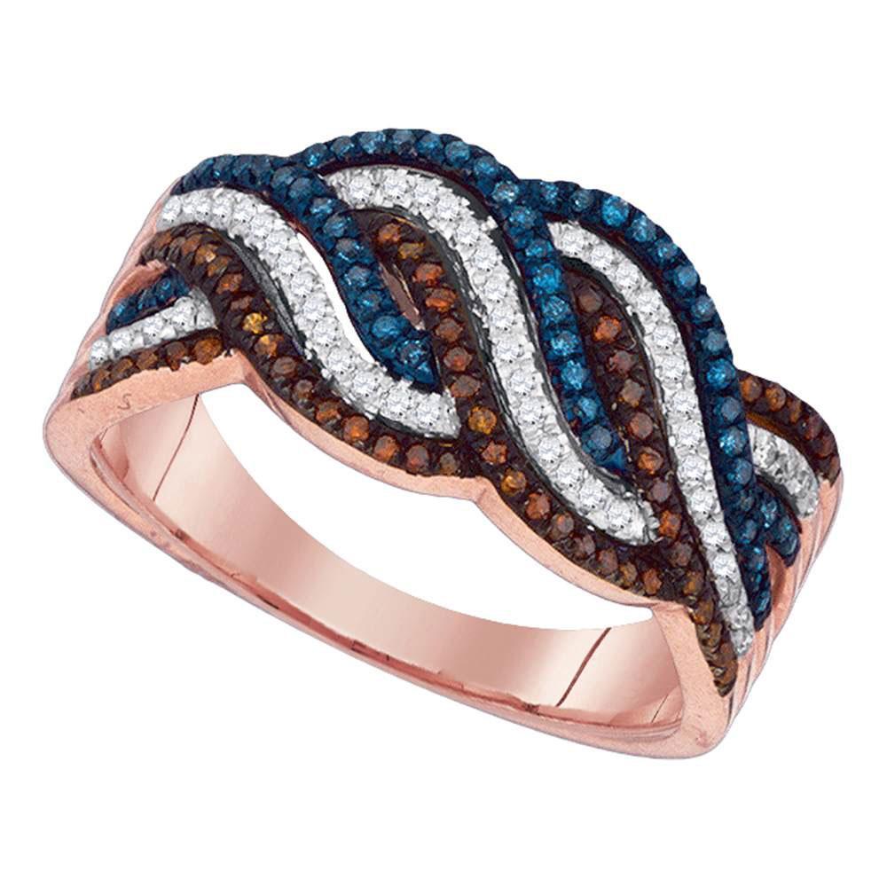 Red Blue Color Enhanced Diamond Cascading Band 10kt Rose Gold