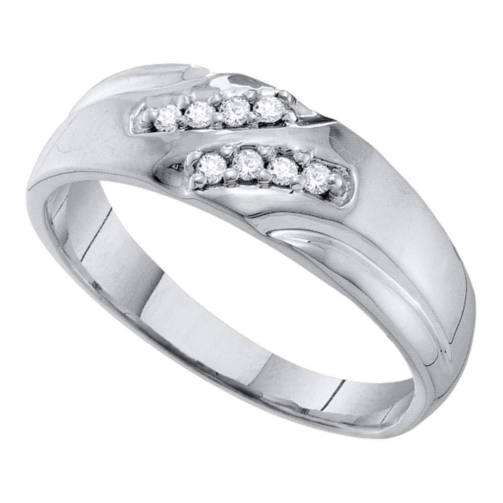 Mens Diamond Wedding Band 10kt White Gold