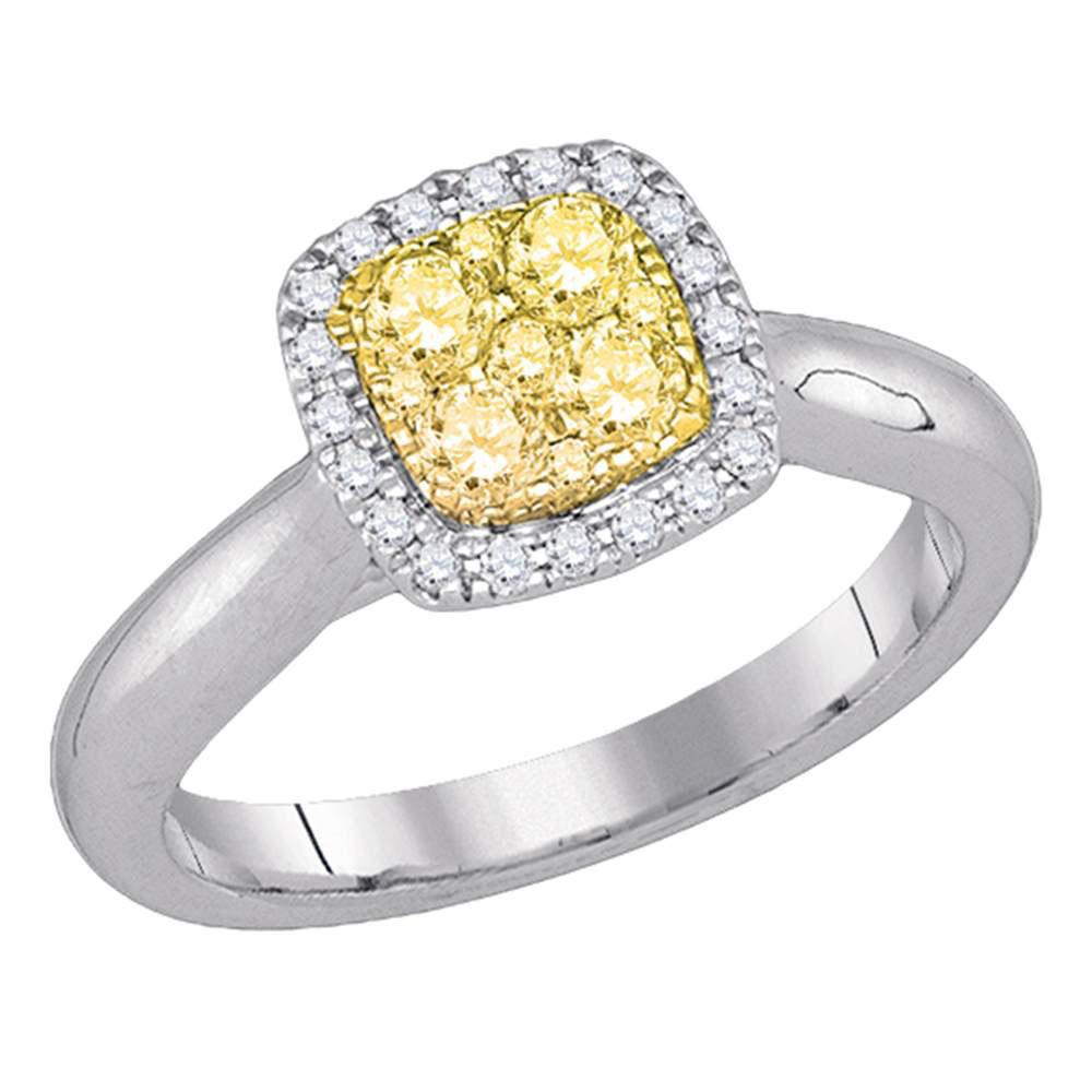 Yellow Canary Diamond Square Cluster Ring 14kt White Gold