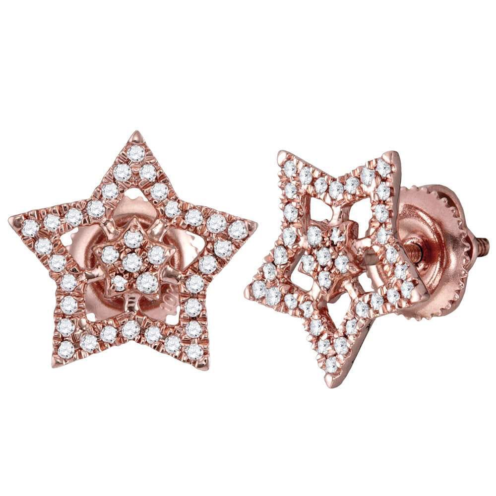 Diamond Star Cluster Stud Earrings 10kt Rose Gold