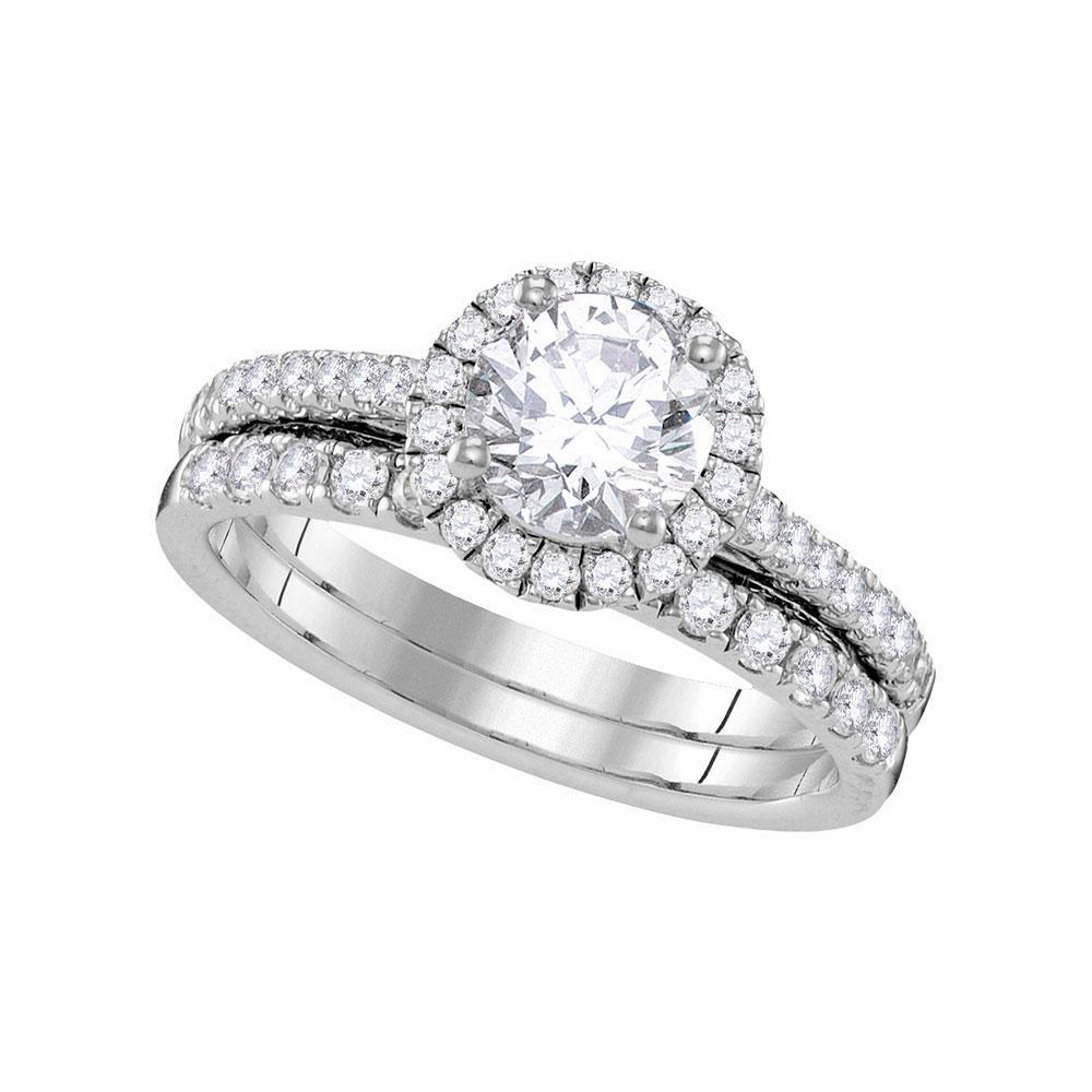 Diamond Halo Bridal Wedding Engagement Ring 14kt White Gold