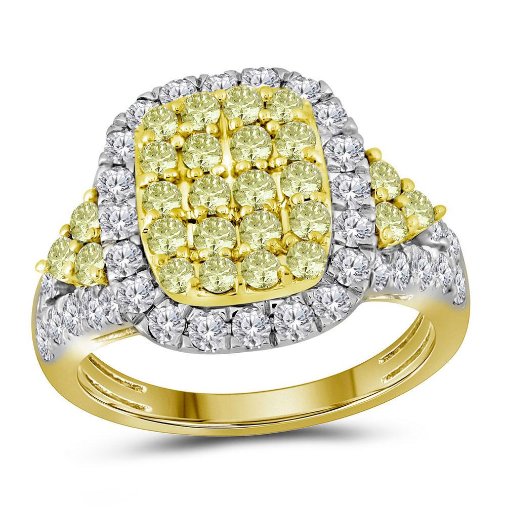 Canary Yellow Diamond Rectangle Cluster Ring 14kt Yellow Gold