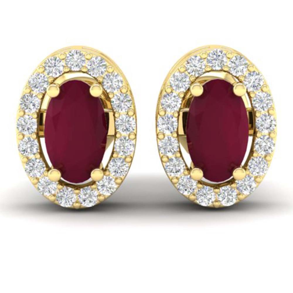 1.02 CTW Genuine Ruby & SI1-SI2 Diamond Earrings 18K Yellow Gold