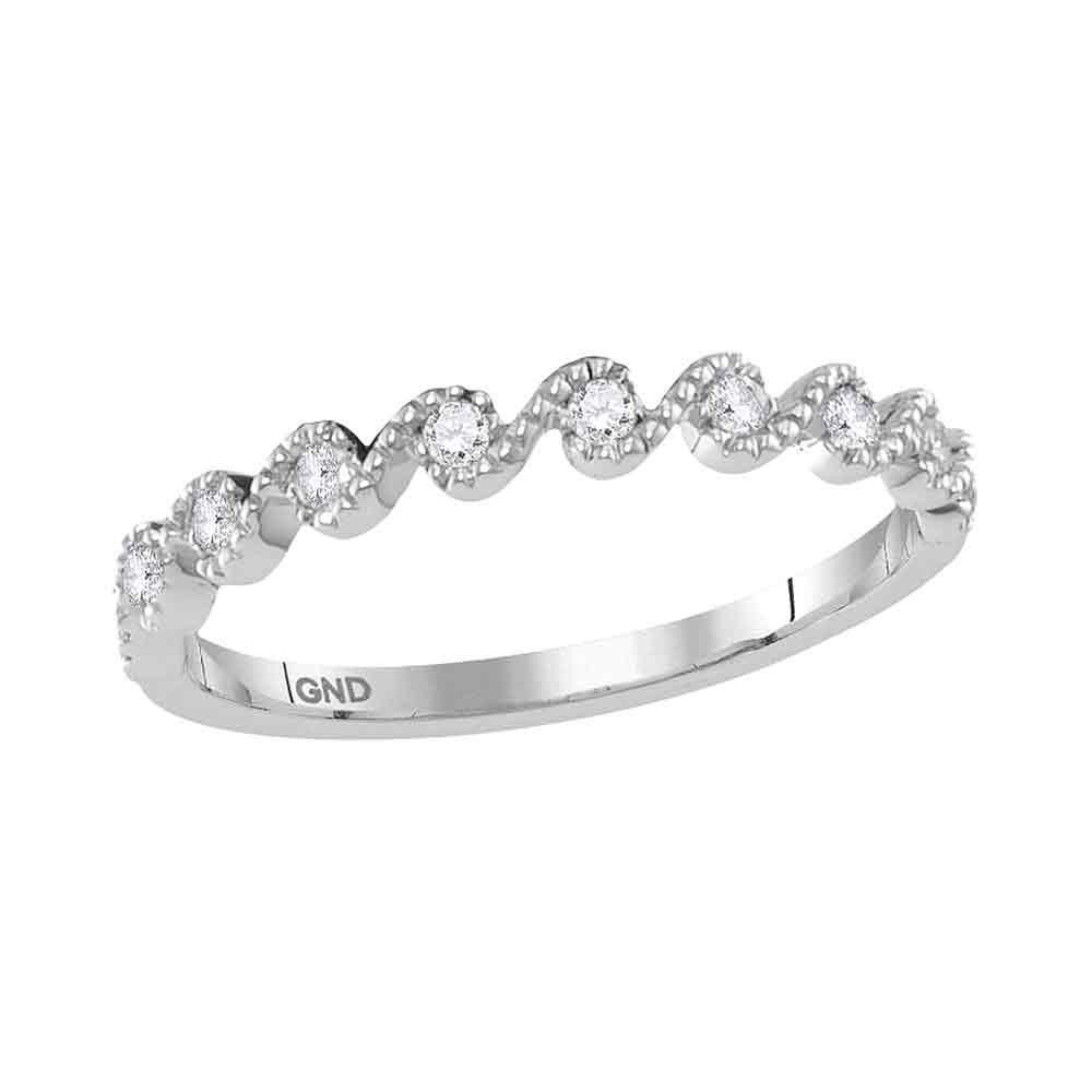 Diamond Cascading Stackable Band 10kt White Gold