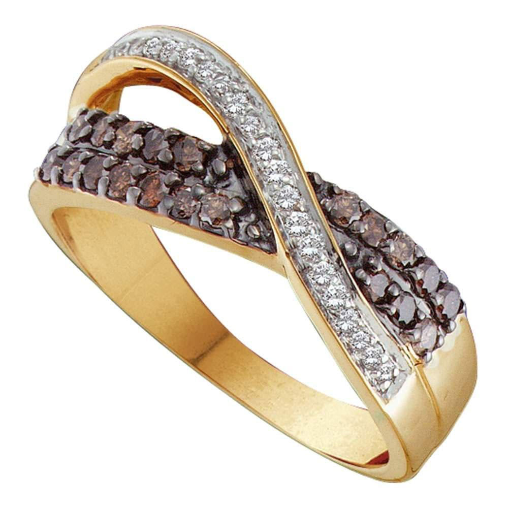 Brown Diamond Crossover Band 14kt Yellow Gold
