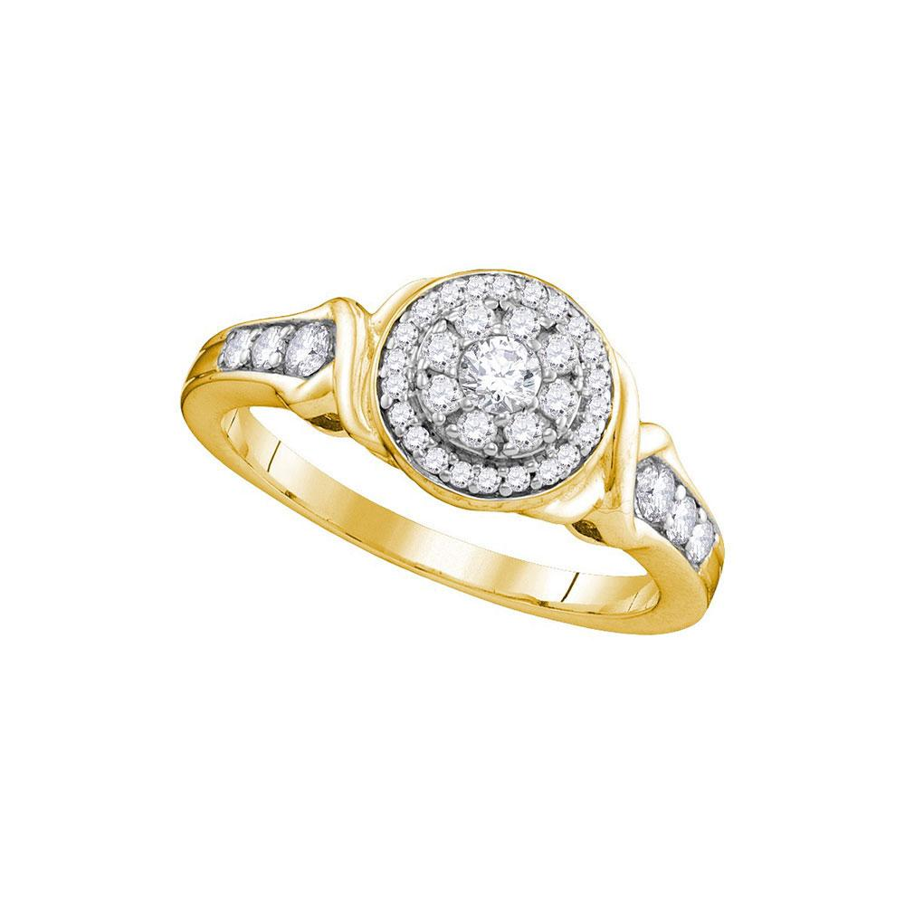 Diamond Halo Bridal Wedding Engagement Ring 10k Yellow Gold