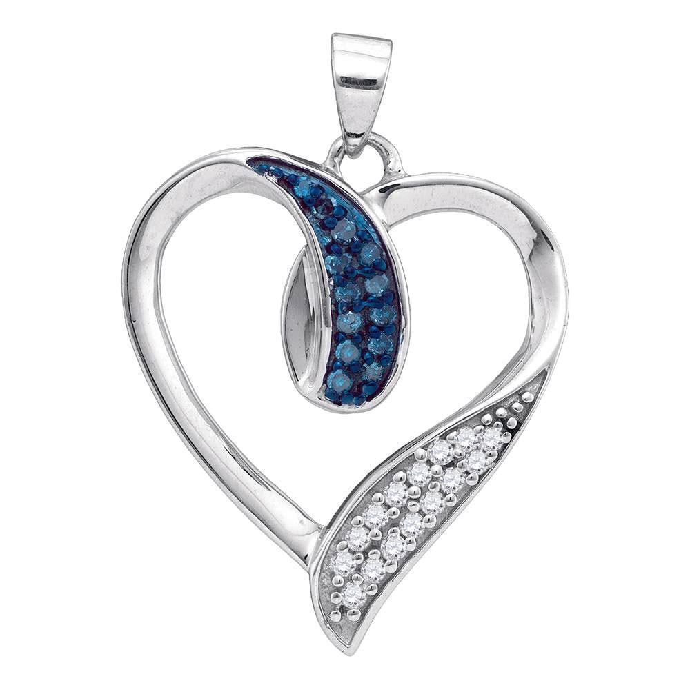 Blue Color Enhanced Diamond Heart Pendant 10kt White Gold