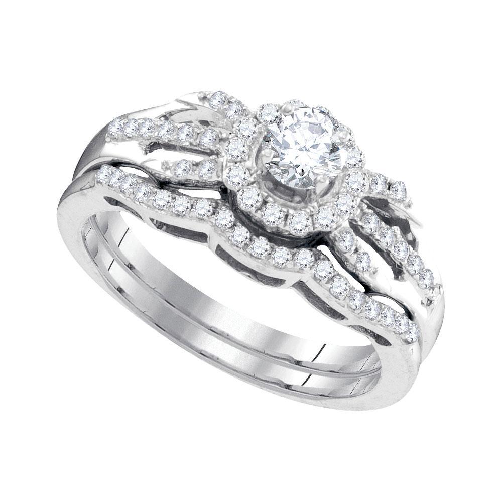 Diamond Halo Bridal Wedding Engagement Ring 10kt White Gold
